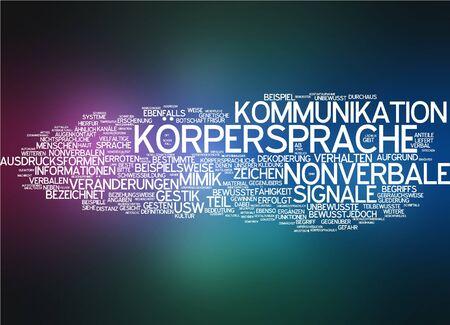 comunicacion no verbal: Nube de palabras del lenguaje corporal en idioma alemán
