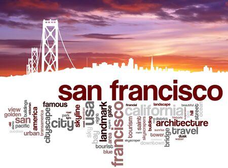 urban city: San Francisco city skyline and word cloud
