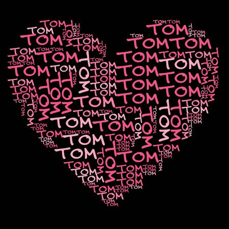 word cloud: Tom word cloud in pink letters against black background
