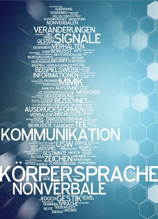 nonverbal: Word cloud of body language in german language