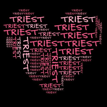 trieste: Trieste word cloud in pink letters against black background Stock Photo