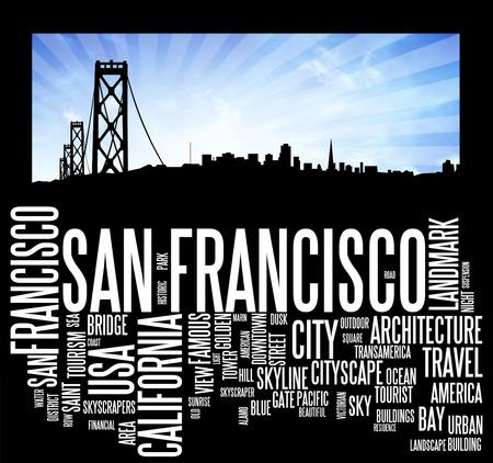 san: San Francisco city skyline and word cloud