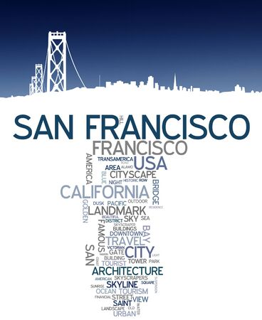 san francisco bay: San Francisco city skyline and word cloud