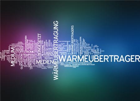 exchanger: Word cloud of heat exchanger in german language Stock Photo