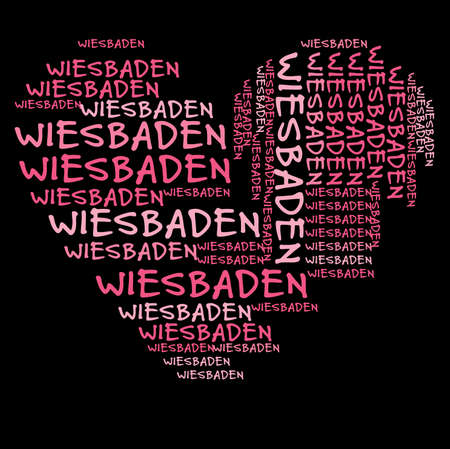 pink and black: Wiesbaden word cloud in pink letters against black background