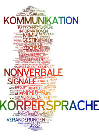 nonverbal communication: Word cloud of body language in german language