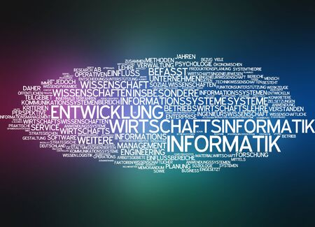 computer language: Word cloud of economic computer science in german language