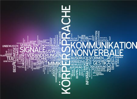 comunicacion no verbal: Nube de palabras del lenguaje corporal en idioma alem�n