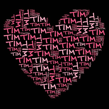coordinated: Tim word cloud in pink letters against black background