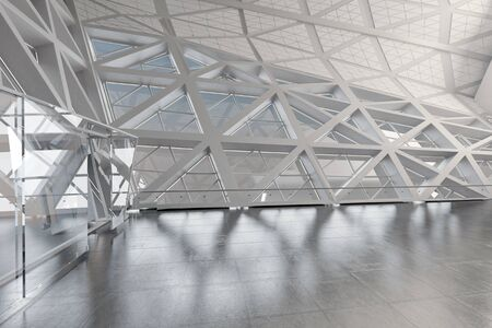 glass ceiling: Modern Design Empty White Atrium or Hall Interior. 3d Rendering.