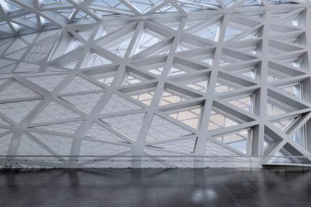 atrium: Modern Design Empty White Atrium or Hall Interior. 3d Rendering.