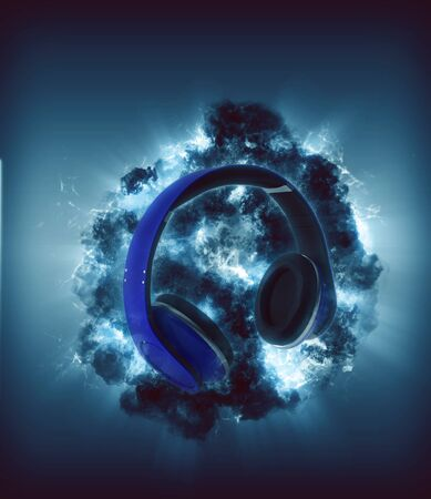 backlight: Modern Headphones in front of blue colored explosion Stock Photo