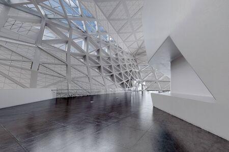 Modern Design Empty White Atrium or Hall Interior. 3d Rendering.