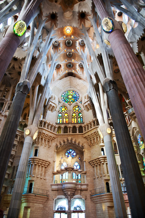 branching: BARCELONA, SPAIN - MAY 02: Ceiling of the Sagrada Familia, Barcelona, Spain with columns designed by Antoni Gaudi as branching trees. May 02, 2015 in Barcelona Spain