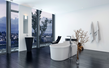 modern chair: Modern contemporary luxury bathroom interior with freestanding bathtub, black lounge chair and fireplace. 3d Rendering.