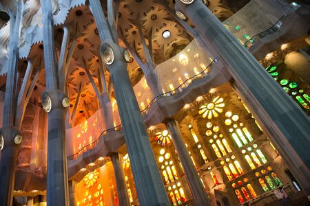 catalunia: BARCELONA, SPAIN - MAY 02: Interior of the Sagrada Familia, a cathedral and world heritage site designed by Catalan architect Antoni Gaudi. May 02, 2015 in Barcelona Spain