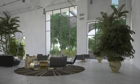 view of a spacious living room: Large spacious waiting room or atrium with small seating areas and potted palms inside a double volume room with huge view windows. 3d Rendering.