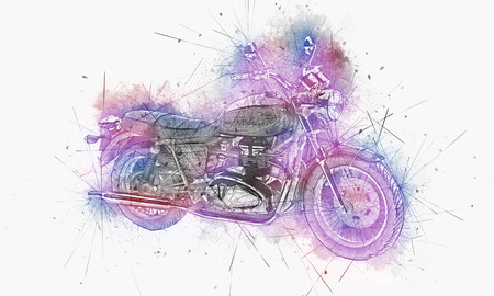 handle bars: Artistic image of a motorbike surrounded by paint splatters