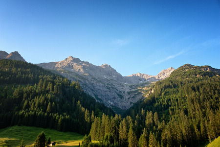 moutains: Alpine moutains near Hochvogel and Hinterhornbach in Tyrol Austria Stock Photo