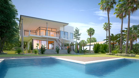 angular: Luxury modern white house or villa with angular walls and large windows overlooking a tropical landscaped garden with palm trees and curving blue swimming pool. 3d Rendering