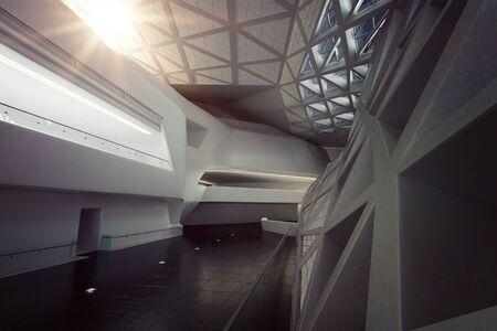 space station: Modern Design Empty White Atrium or Hall Interior. 3d Rendering.