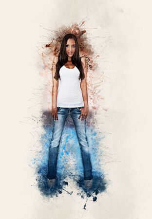 splatter paint: Artistic portrait of a slim trendy young woman in a t-shirt and denim jeans framed by paint splatter Stock Photo