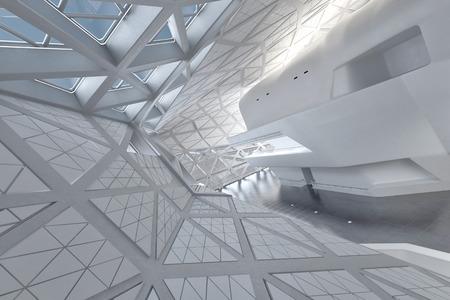 roof windows: Modern Design Empty White Atrium or Hall Interior. 3d Rendering.