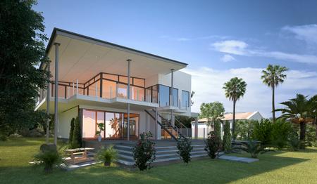 Vue moderne Tropical design villa avec jardin et de palmiers. Concept pour un style de vie de luxe et de richesse. Rendu 3D. Banque d'images - 44592213