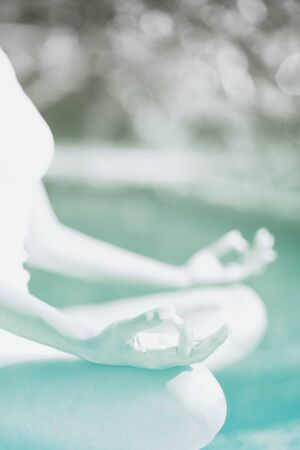 spiritually: Close up Hand Gesture of Woman Doing an Outdoor Lotus Yoga Position, an Activity to Stay Physically, Mentally and Spiritually Healthy.