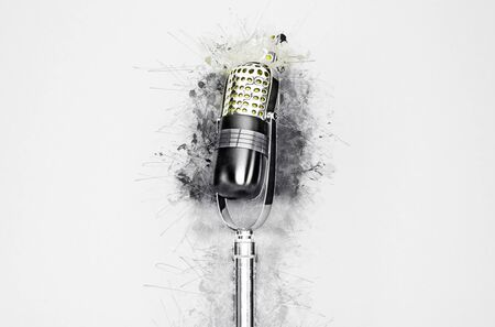 mics: Artistic closeup of microphone surrounded by paint splatter