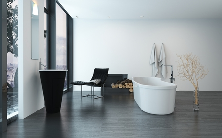 Modern Contemporary Luxury Bathroom Interior With Freestanding