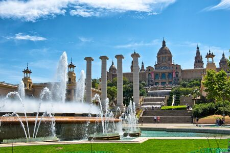 historical landmark: Fountains at Palau Nacional, Barcelona in front of the Museum for Catalan Art, a historical cultural landmark and popular tourist attraction