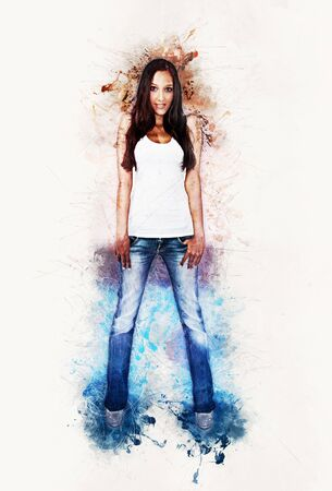 distressed: Artistic portrait of a slim trendy young woman in a t-shirt and denim jeans framed by paint splatter Stock Photo