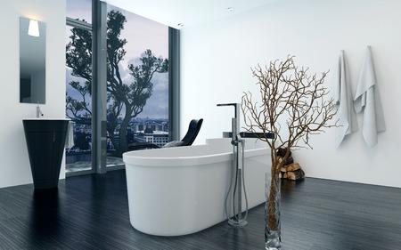 baÑo: Interior moderno del cuarto de baño de diseño con bañera independiente de lujo. Concepto de estilo de vida y la vida de lujo. Representación 3d.