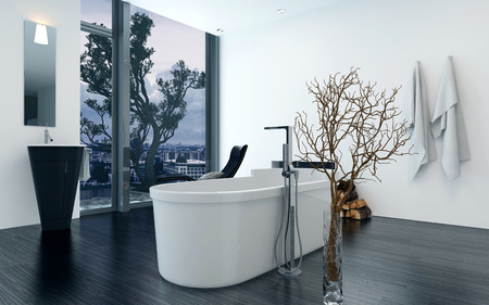 bath: Modern design bathroom interior with a luxury freestanding bathtub. Concept for lifestyle and luxury living. 3d Rendering. Stock Photo