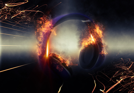 black background abstract: Modern Illuminated Headphones with Fire Effect Dramatically Lit from Side with Small Light Beams