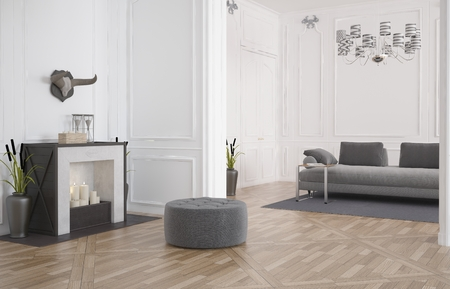 裸の堅木張りの床と白い木製パネルで引込められた床の間でソファに暖炉の前で円形の座席を使ってシンプルなモダンなリビング ルームのインテリ