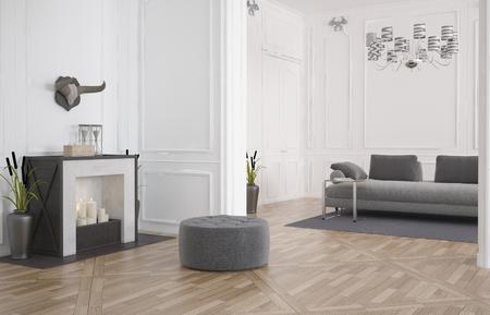 3D-Darstellung von einem minimalistischen modernen Wohnzimmer Innenraum mit einem kreisförmigen Sitz vor einem Kamin auf einem blanken Holzboden und einem Sofa in einem Einbaunische mit weisser Holzverkleidung Standard-Bild