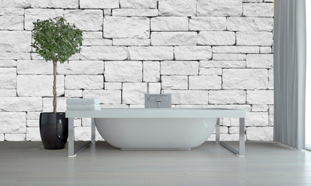 topiary: Modern bathroom interior with freestanding tub on a chrome frame against a white irregular brick or stone wall with a topiary tree in a flowerpot, grey floor and window blinds. 3d Rendering.