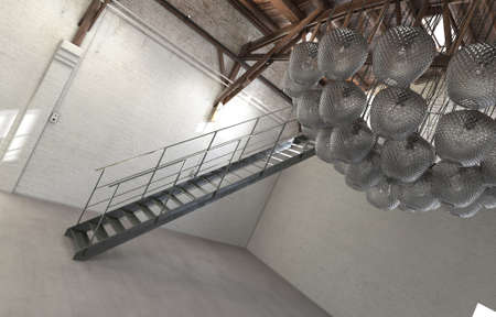 mezzanine: Tilted Architectural Interior View of Empty Loft Space with Staircase and Modern Light Fixture or Modern Sculpture Hanging from Ceiling