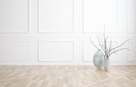 Innendekoration Hintergrund eines nackten unmöblierte Zimmer mit klassischen weißen Holzverkleidung und einem Holzparkettboden mit zwei Glasvasen und viel copyspace