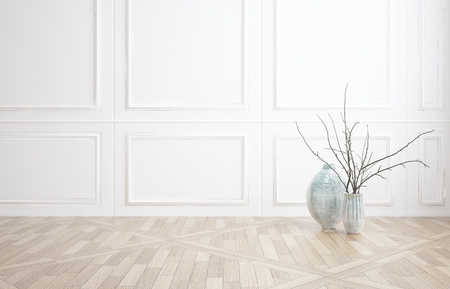 white trim: Interior decor background of a bare unfurnished room with classic white wood paneling and a wooden parquet floor with two glass vases and plenty of copyspace Stock Photo