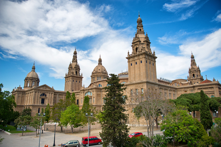 nacional: View of Historic Palau Nacional on Montjuic, Home of National Art Museum of Catalonia, Barcelona, Spain