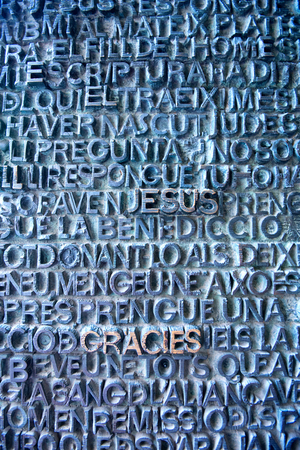 lord's: Close Up of Lords Prayer Stone Relief on Wall of Sagrada Familia Church, Designed by Antoni Gaudi, Barcelona, Spain