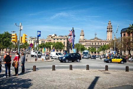 city traffic: Placa Antonio Lopez (Antonio Lopez Square) in Barcelona, Spain. A picturesque square near the harbour and the gothic district Editorial