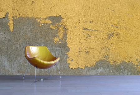 undecorated: 3d render of a simple modern yellow tub chair in a living room with a matching textured yellow wall with empty space for interior decorating or copyspace. 3d Rendering.