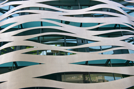 Architectural Detail of Commercial Building Facade Designed by Toyo Ito Located on Passeig de Gracia, Barcelona, Spain 에디토리얼