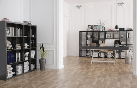 Library, office or reading room interior with bookshelves lining the walls and a wooden parquet floor with central table