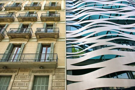 neighboring: Architectural Detail of Old and New Neighboring Buildings Located on Passeig de Gracia, Barcelona, Spain Editorial