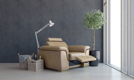 recliner: Comfortable brown leather recliner chair placed facing a view window with modern anglepoise lamp and wine bottles in a basket alongside. 3d Rendering.